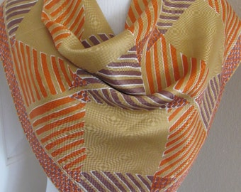 "Scarf Vintage Brown Gold Orange Jacquard Soft Silk Scarf // 27"" Inch 64cm Square // My Fav"