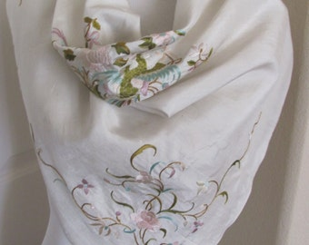 "Vintage Beautiful Solid White Embroidered Silk Scarf  - 29"" Inch 73cm Square"