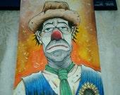 Original Clown art hobo clown tramp mixed media colorful wall art home decor