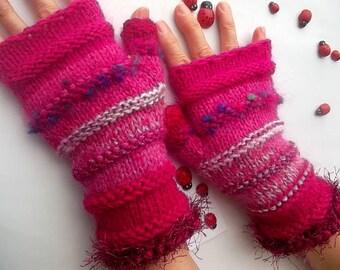 HAND KNIT GLOVES / Women Accessories Fingerless Mittens Elegant Warm Wrist Warmers Arm Crochet Winter Feminine Romantic Cabled Striped 947