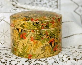 Paper Mache Vintage Box Round Autumn Leaves