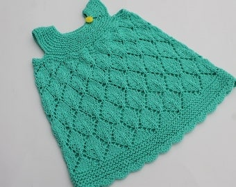 Hand Knit Turquoise Summer Baby Girl Dress. Lace Baby Dress. Cotton Baby Dress. 0 - 3 months