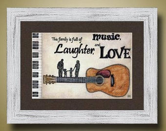 PRINT or GICLEE Reproduction -- This Family is Full of Music, Laughter, and Love Limited Edition Signed Print -- 12 x 18 -- Britt Hallowell