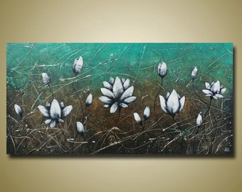 Teal and Brown Lotus Flower Painting - Long Sofa Art - White Flowers - 24x48 by Britt Hallowell