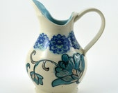 Porcelain Pitcher, Blue and White Floral Pitcher
