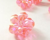 Three (3) Pink Flower Buttons in Plastic. 18mm