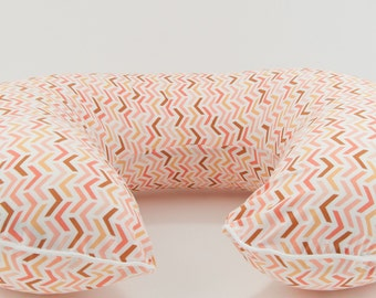 Peach Herringbone Boppy Cover, Nursing Pillow Cover, Boppy Slipcover with Zipper and Piping, All Cotton Boppy Cover, Boppie Cover