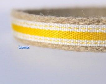 "Yellow Stripe Collar, 5/8"" Wide Dog Collar, Narrow Dog Collar, Preppy Dog Collar"