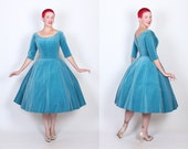 GORGEOUS 1950s New Look Designer Rare Lagoon Blue Cotton Velveteen Tailored Fit n Flare Party Dress by Suzy Perette - Built In Crinoline - M