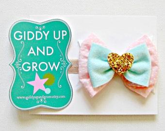 Bow Headband, Felt Hair Clip, Glitter Heart Headband, giddyupandgrow