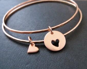 Mother of the bride gift, Mother daughter bangles,  set of 2 rose gold heart bracelets, wedding gift for her
