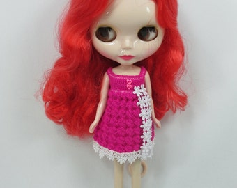 Handcrafted crochet knitting dress outfit clothes for Blythe doll # 300-100