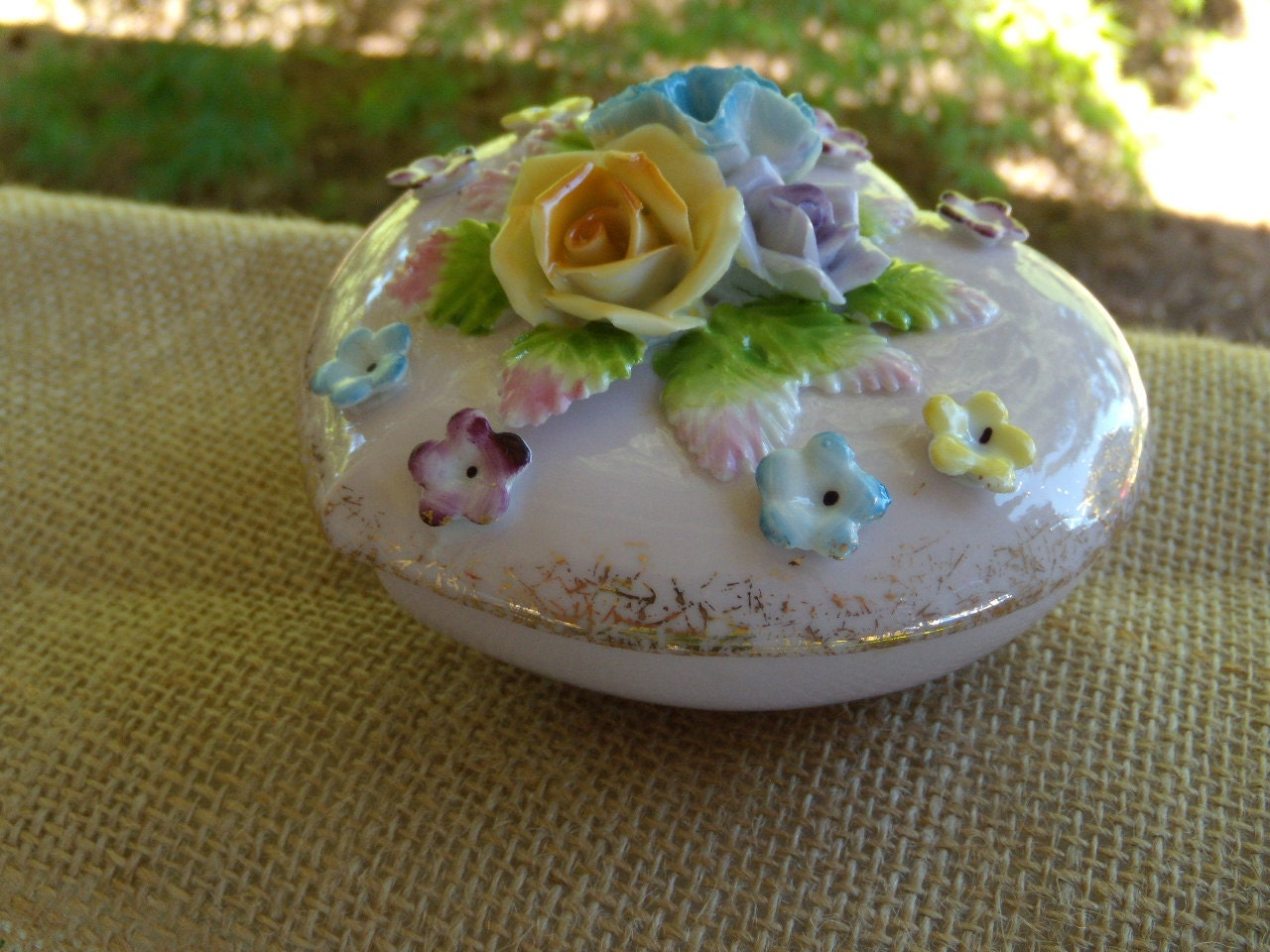 Heart Shape Trinket Box Vintage 1950 S With Ceramic Roses