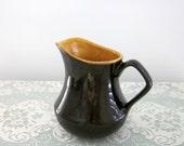 1970s Dark Brown and Rust Gold Pottery Cream Pitcher - Collectible - Cottage Kitchen Decor - Pitcher Vase - Crock Creamer - Bobann23 Kitchen