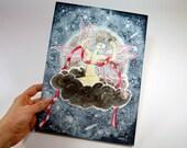 Original Watercolor Fairy Painting - Wake Up Moon Fairy