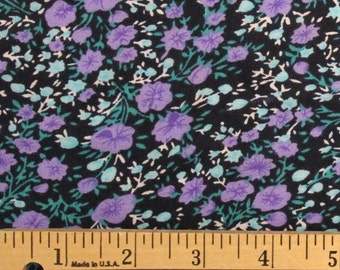 Black Purple and Teal Ditsy Floral Rayon Challis, 1 yard