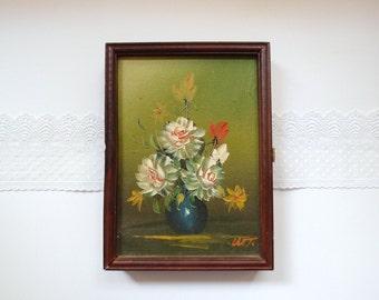 1970s Key Box  / Original Oil Painting Floral Still Life Wooden Box / Hidden Key Holder