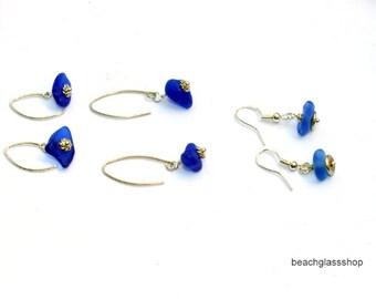 Beach Glass Earrings - RARE Cobalt Blue Beach Glass Earrings - Sea Glass Earrings -  Sterling Pierced Earrings