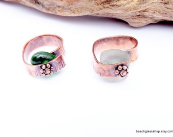 Sea Glass Ring - Copper Ring - Lake Erie Beach Glass - Organic Jewelry
