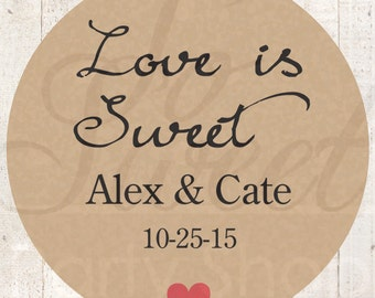 Wedding Favors, Thank You Stickers, Love Is Sweet, Rustic Wedding Favor Stickers, Bridal Shower Favors, Kraft Stickers - Set of 24