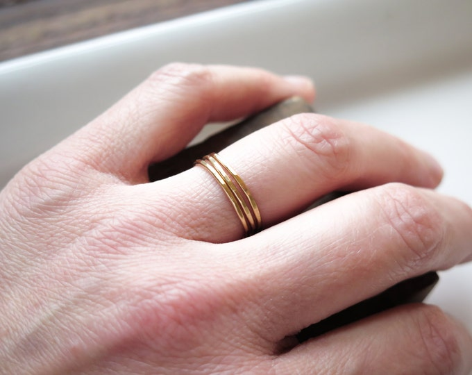 Gold Fill Skinny Dainty Stacking Rings with Hammered Finish by Betsy Farmer Designs