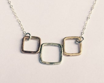 Tricolor Squares Necklace