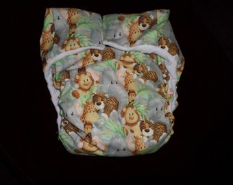 AIO Adult Cloth Diaper Animal  Babies Buy 4 Get 1 Free, Minky Lining