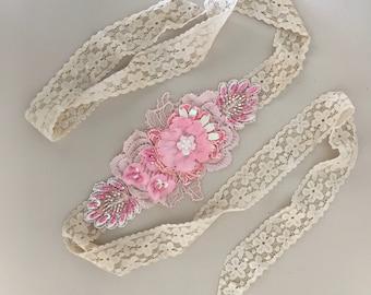 Chicle Pink beaded lace headband