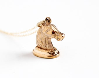 Antique Rose Gold Filled Horse Fob Necklace - Edwardian 1910s Simulated Ruby Eyes Equestrian Pendant Seal Style Figural Animal Rare Jewelry