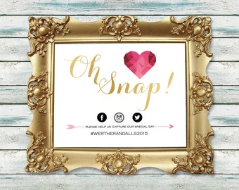 Oh Snap Wedding Sign, Gold Foil Wedding Sign, Instagram Wedding Sign, Geometric Heart, Print at home, DIY, Printable Wedding Sign