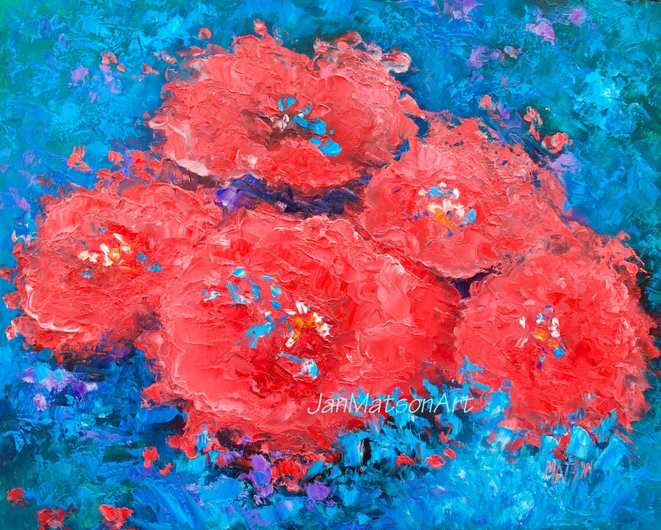 Abstract floral art oil painting poppy art red poppies