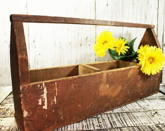 Vintage Wood Tool Box, Tool Caddy, Craft Organizer, Flower Box, Herb, Cactus etc