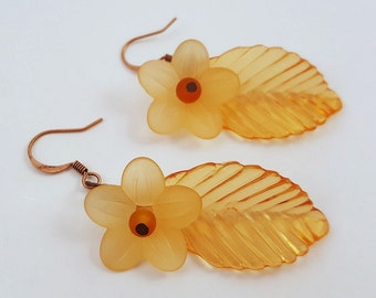 Frosted Orange - Lucite and Acrylic Beaded Earrings