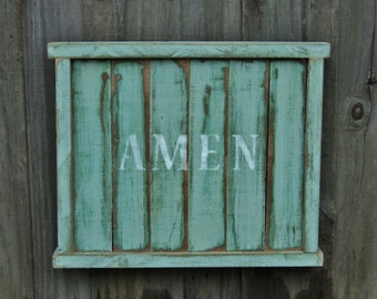 "Wooden Sign, ""AMEN"", Farmhouse, Rustic Country, House Warming Gift"