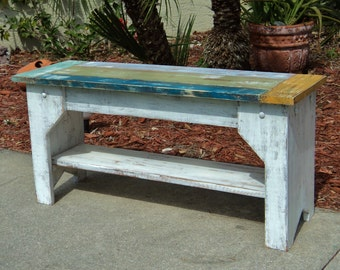 Island Style Series, Colorful Beach-y Style Indoor Bench, Rustic Weathered Furniture
