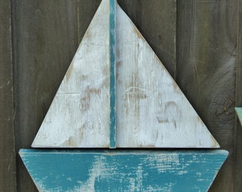 Beach-y Weathered Sail Boat, Lake House Decor, Coastal Living, Beach House Wall Hanging