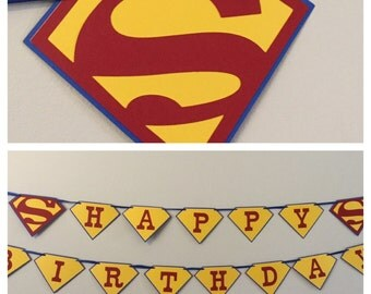 supermanHappy Birthday Banner red, yellow, and blue superman