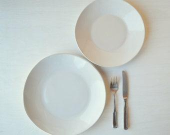 White Dinnerware Set, Handmade Stoneware Dinnerware,Organic Dinnerware Set, Set of 4, READY TO SHIP
