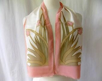 Vintage KRISKA Painting on Silk Scarf in Pink with Flowers