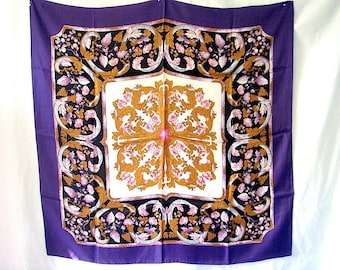 Vintage Scarf with Grapes & Leaves in Purple and Bronze