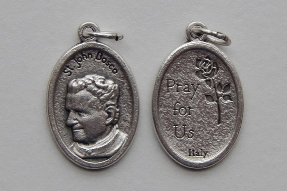 5 Patron Saint Medal Findings - St. John Bosco, Die Cast Silverplate, Silver Color, Oxidized Metal, Made in Italy, Charm, Drop, RM914