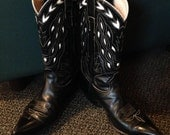 Cowboy Western Boots Unisex Black White Inlay Cut-outs Rockabilly Mens 8D Women's 9 1/2?