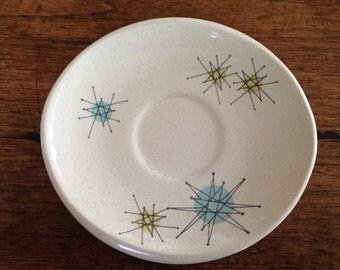 "Franciscan Starburst Atomic Plates Saucers 6"" Set of 6 Rest 1950's Mid Century Modern Mad Men MCM"