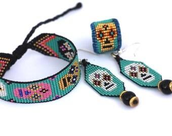Beaded Calavera Skull Ring, Earring, Bracelet Set, 24K gold plated, silver hooks