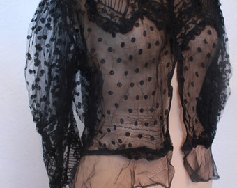 Stunning Antique Victorian Black Netting Lace Shirt Elaborate Design