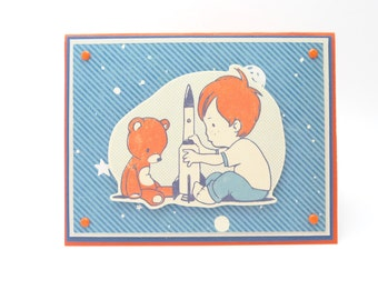 Boy's Happy Birthday Greeting Card, Boy's Astronaut Birthday Card, Outer Space Birthday Card, Rocket Ship Card for Little Boy, Handmade Card