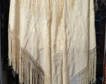 ON HOLD Gorgeous 20s Cream Embroidered and Fringed Piano Shawl