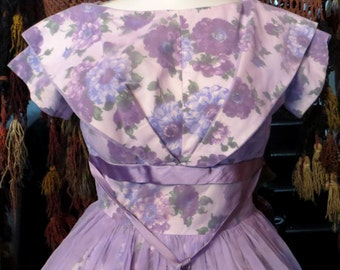 Fab 50s Purple Flowered Beribboned Cotton Dress with Sheer Overlay
