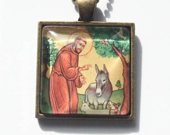 St. Francis of Assisi glass pendant