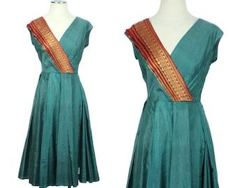 vintage 1950s silk SARI dress • teal gold & burgundy